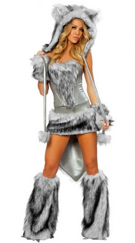MOG  Fake Fur Wolf Cosplay Uniform