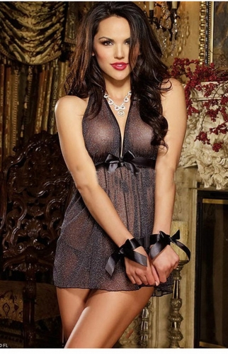 MOG Black bow tie straps nightdress erotic lingerie