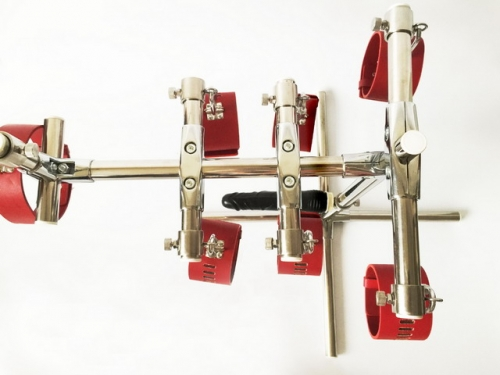 MOG New leather handcuffs and shackles collar restraint horse training rack