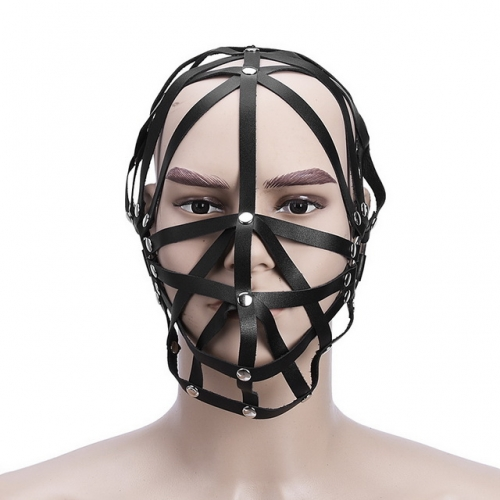 MOG Adult supplies cross-skin hood bondage half baotou mask hooded bondage sex toy
