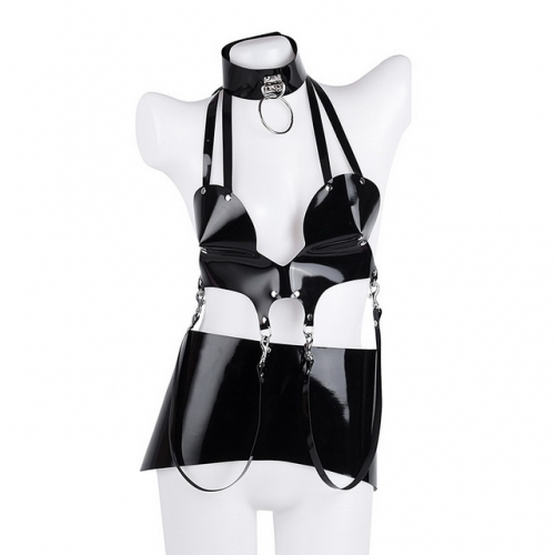 MOG Sex toys three-piece nightclub flirting costumes BDSM Bondage Leather Harness Toys For Women Adult Game