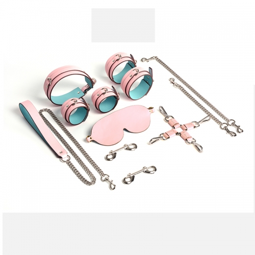 MOG Sex Toys Leather Pink 6-piece Cowhide Handcuffs Goggles Collar K9 Alternative Bondage Sex Toy Set