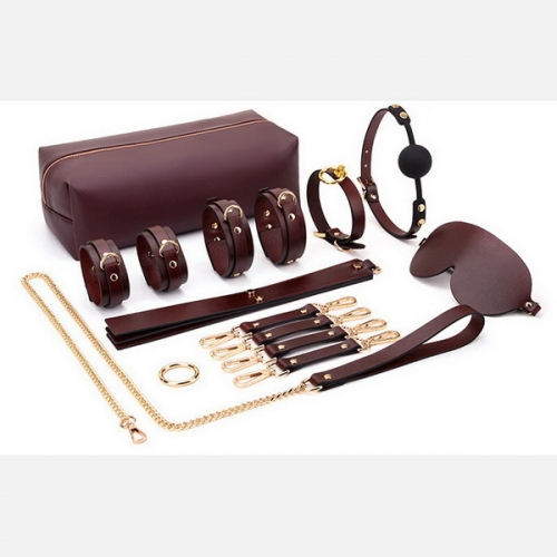 MOG Erotic handcuffs bundle 8 piece suit sp leather rack collar alternative storage suit adult supplies