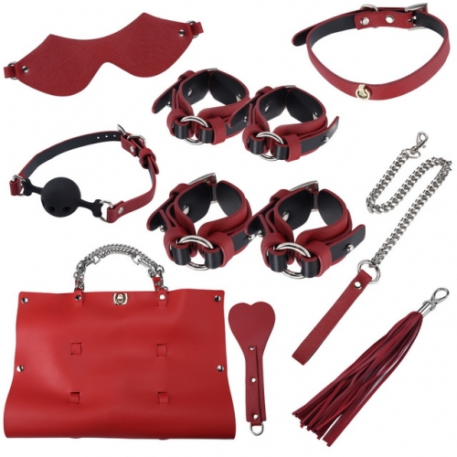 MOG Erotic sexy toys Bundle 8-piece suit bondage flirt alternative femdom storage bag set handcuffs whip mouth gaps adult games BDSM bondage set