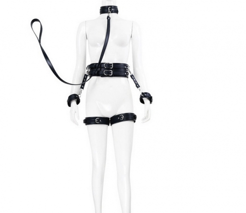 MOG Bundled leather hand and handcuffs with leg ring sex toys hook  neck collar collar binding belt 5 piece set