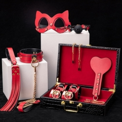 MOG Erotic storage SM pu leather bundle BDSM bondage handcuffs handcuffs tune-up mouthball mouth plug sex toys 8 pieces set