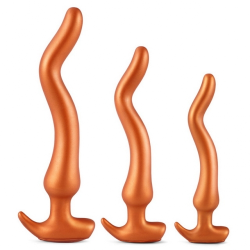MOG Gold Dragon three-piece prostate massage masturbation device for men and women soft backyard silicone anal plug adult sex toys