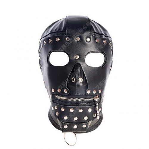 MOG Open eye zipper mouth PU all-inclusive lace reinforced headgear training mask performance headgear leather punishment suffocation restraint sex to