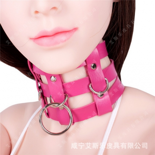 MOG Adult sex role playing rose red leather strip classic dog slave training collar supplies collar sex toys