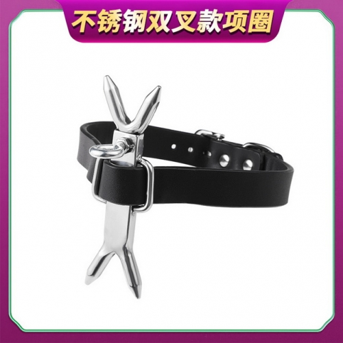 MOG SM fun double fork collar traction chain men and women toy dog collar chain adult flirting sex products