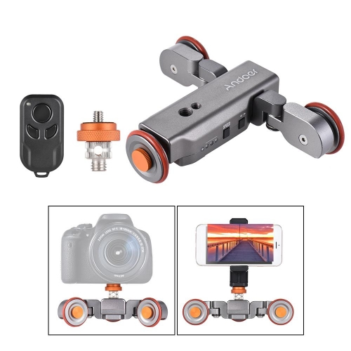 L4 Autodolly 3 Speed Adjustable Remote Control Electric Motorized 3-Wheel Pulley Car Slider Rolling Skater for DSLR Phone