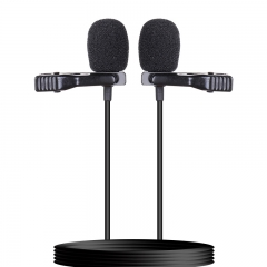 Dual-head Lavalier Microphone Professional Clip on Lapel Condenser Microphone