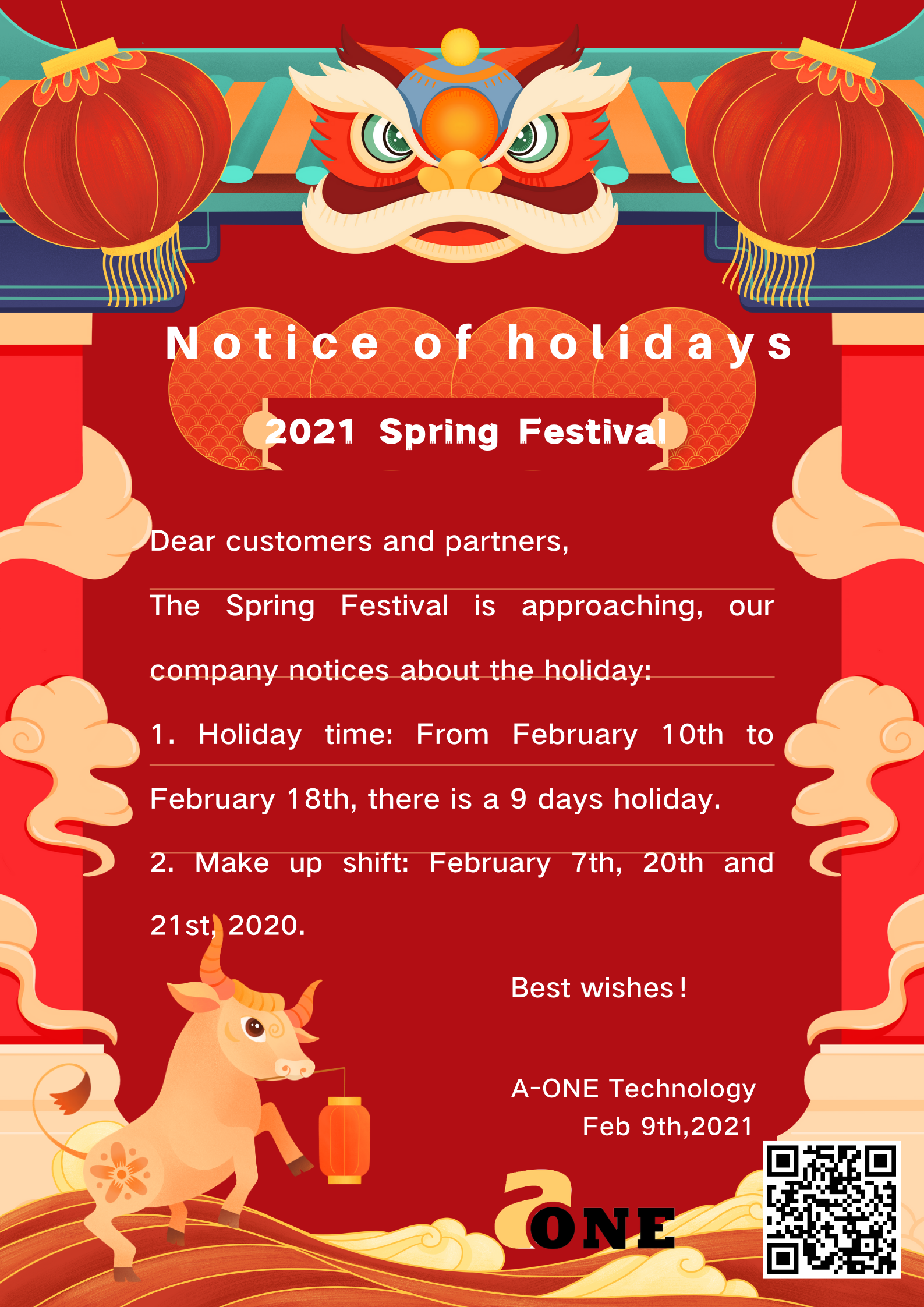 Notice of Holidays--2021 Spring Festival