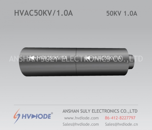 Cylindrical HVAC50KV / 1.0A high voltage rectifier components produced by HVDIODE manufacturers