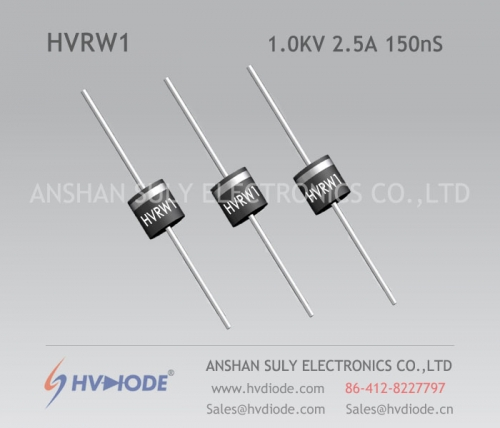 HVDIODE genuine HVRW1 high frequency high voltage diode 2.5A1KV150nS glass blunt chip high frequency response
