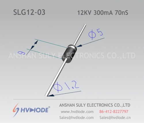 12KV300mA70nS high frequency high voltage diode SLG12-03 produced by ultra fast recovery HVDIODE manufacturers