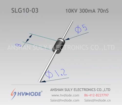 10KV300mA70nS high frequency high voltage diode SLG10-03 ultra fast recovery HVDIODE manufacturer