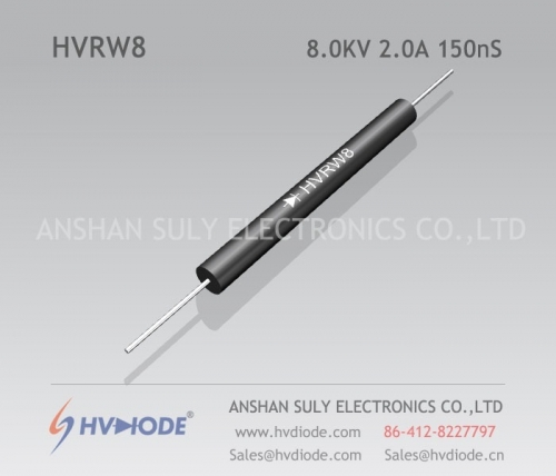 HVDIODE genuine HVRW8 high frequency high voltage diode 2A8KV150nS glass blunt chip military quality