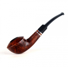 Briar pipes tobacco smoking pipe smooth finish 9mm filter bent pipe bulldog shape #CK1003
