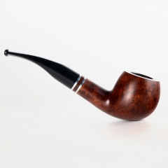 Briar pipes tobacco smoking pipe smooth finish 9mm filter bent apple pipe shape #CK1002