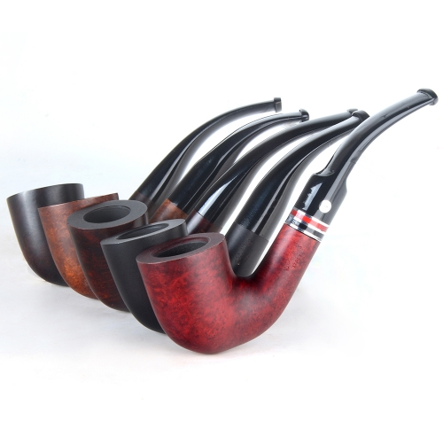 Briar pipes tobacco smoking pipe smooth finish 9mm filter bent Dublin pipe shape #CK1012