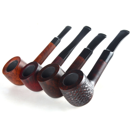 Briar pipes tobacco smoking pipe smooth finish 9mm filter straight pot pipe shape #CK1013