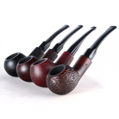 Briar pipes tobacco smoking pipe smooth finish 9mm filter bent pipe author shape #CK1014