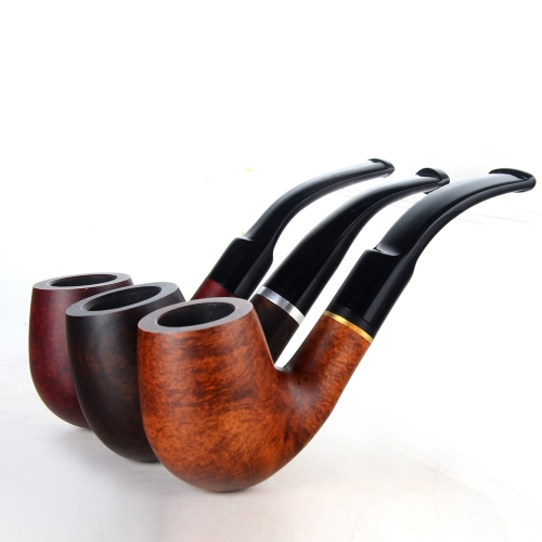 Briar pipes tobacco smoking pipe smooth finish 9mm filter bent pipe billiard shape #CK1022