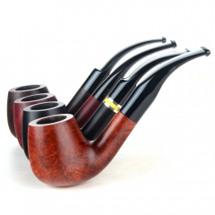 Briar pipes tobacco smoking pipe smooth finish 9mm filter bent pipe billiard shape #CK1029