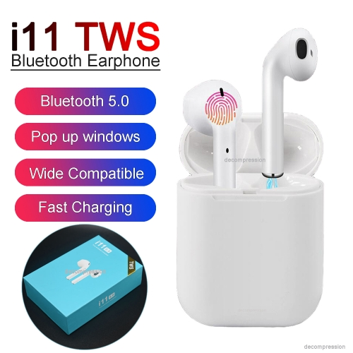 i11 TWS Wireless  Headphones Earbuds with Twins Mini Earbuds for i11 5.0 touch blue box