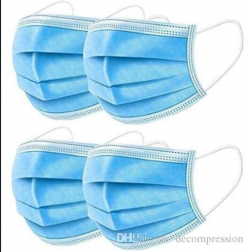 Disposable Face Mask 3 Layer Ear-loop Dust Mouth Masks Cover 3-Ply Non-woven Disposable Dust Mask Soft Breathable outdoor part