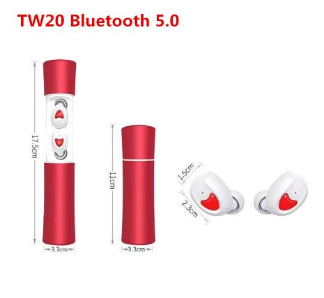 TW20 TWS HD Mic Bluetooth earphone Sport Wireless Headphones Waterproof earbuds Touch Control Earpieces Works on all smartphones