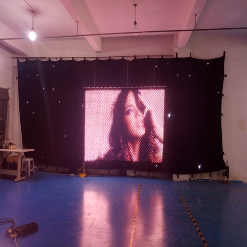 Seamless zipper connection P30mm 2x3m led display light led video curtain full color