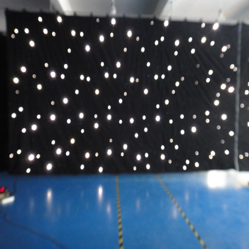 Professional wedding decoration lighting led white star curtain and back fireproof fabric backdrop