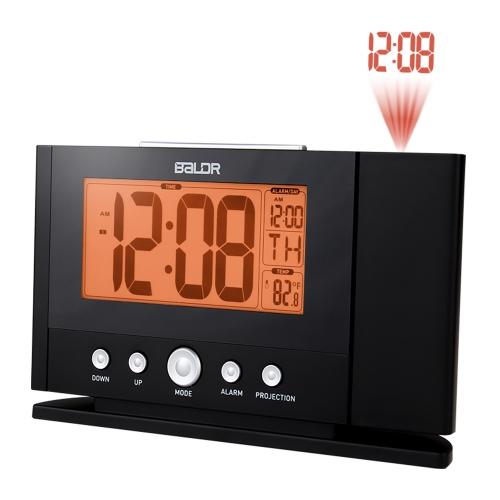 ORANGE BACKLIGHT PROJECTION ALARM CLOCK