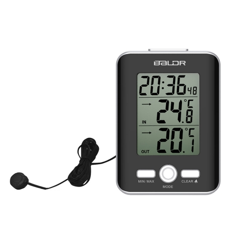 WIRED INDOOR/OUTDOOR THERMOMETER WITH ALARM