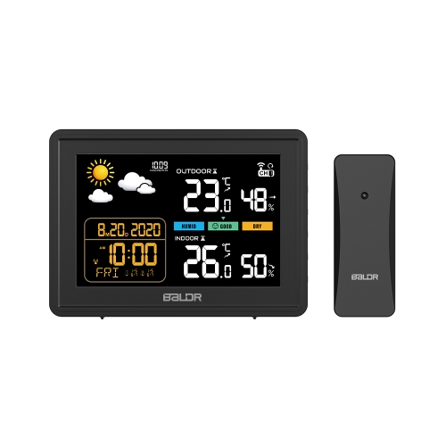 WIRELESS COLOR WEATHER STATION WITH TEMPERATURE ALERTS