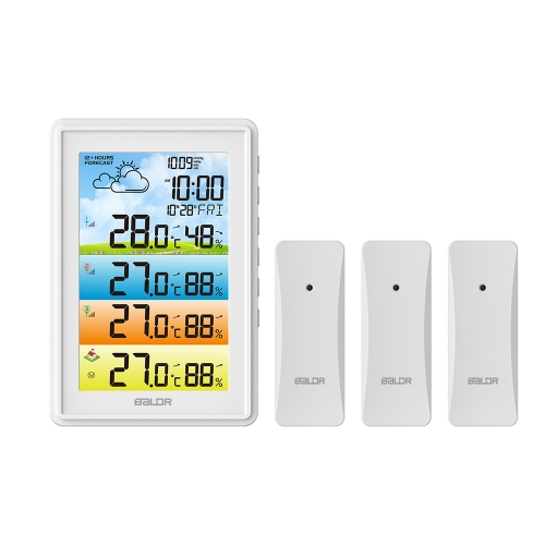 WIRELESS COLOR WEATHER STATION WITH 3 REMOTE SENSORS
