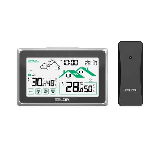TOUCH SCREEN WIRELESS WEATHER STATION WITH OUTDOOR TEMPERATURE ALERTS