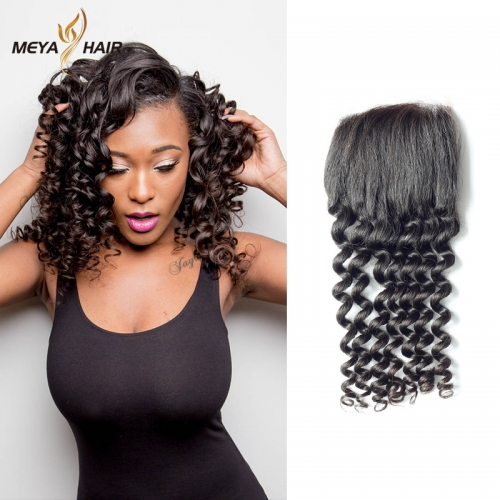 Meya 100% human 4*4 lace Closures Brazilian factory price deep wave.