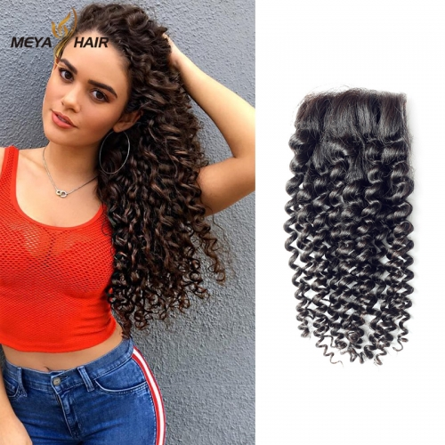 Meya 100% human 4*4 lace Closures Brazilian factory price deep curl.