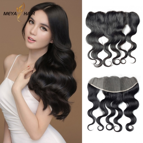 Meya 100% human 13*4 lace Frontal body wave Brazilian factory price