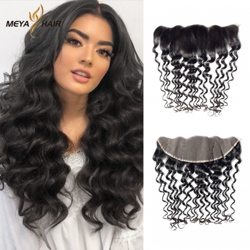 Meya 100% human 13*4 lace Frontal deep wave Brazilian factory price