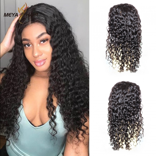 Meya 100% human full lace wigs deep wave Brazilian hair factory price