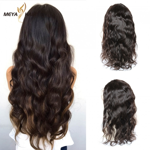 Meya 100% human full lace wigs nature wave Brazilian hair factory price