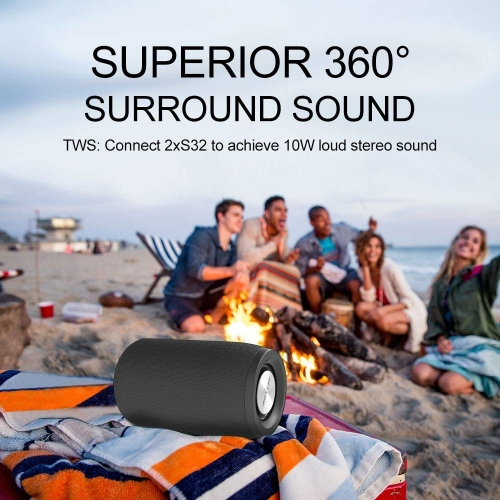 Mini Portable Bluetooth Speakers Zealot S32 TWS Wireless Speaker Upto 8H Playtime MIC Hand Free Calls/Micro SD Card/U Disk/Line-in Modes Competible fo