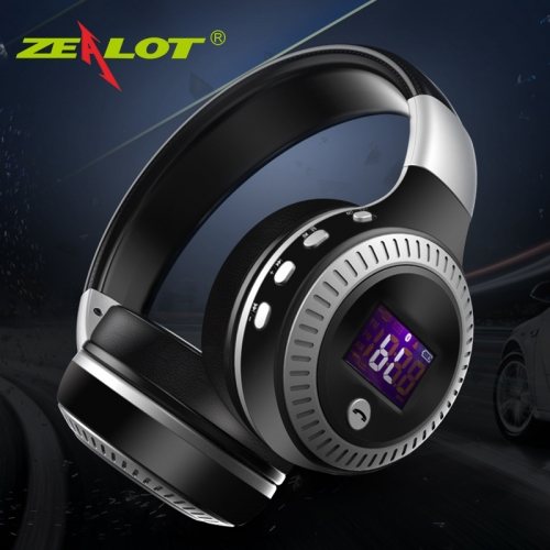 ZEALOT B19 Headphone LCD Display HiFi Bass Stereo Bluetooth Wireless Headset With Mic TF Card black