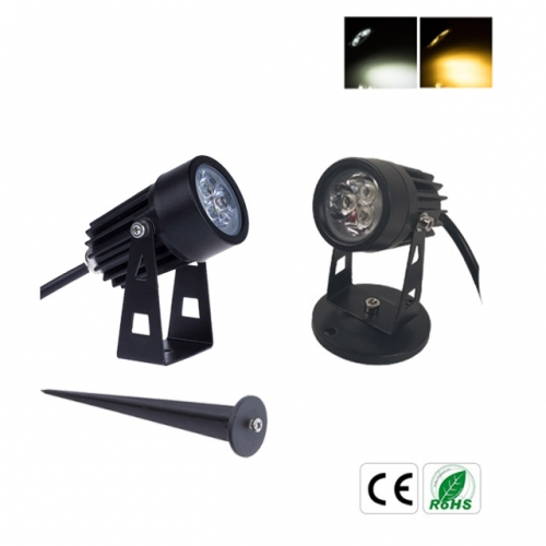 3W AC100-240V/DC12V mini LED Garden Light Lawn Lamp with Spike/Base IP65