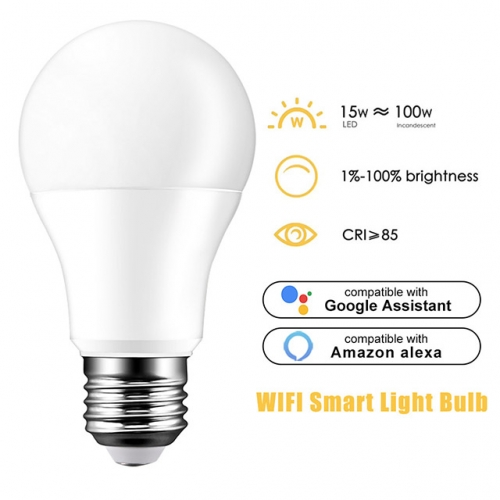 15W AC100-240V E27/B22/E14 Wifi Dimmable LED Globe Bulb Light Lamp Alexa Google Home Voice Control
