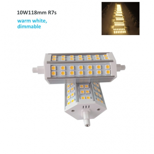 10W AC220V-240V J118mm SMD5050 R7s LED Bulb Light Lamp Warm White Dimmable